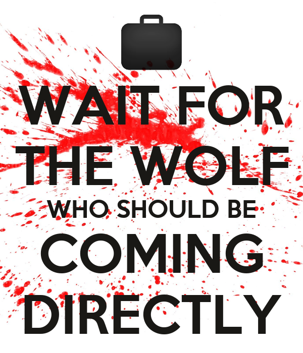 WAIT FOR THE WOLF WHO SHOULD BE COMING DIRECTLY