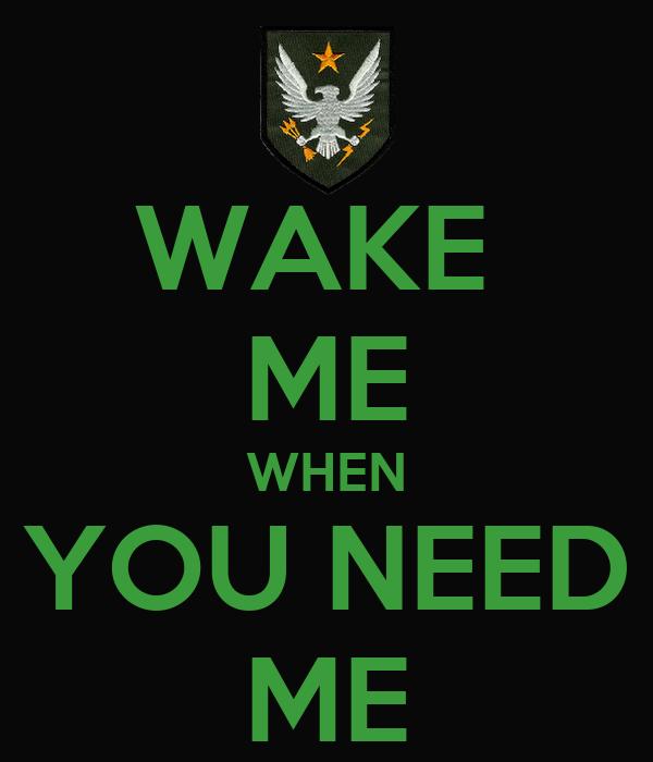 WAKE  ME WHEN YOU NEED ME