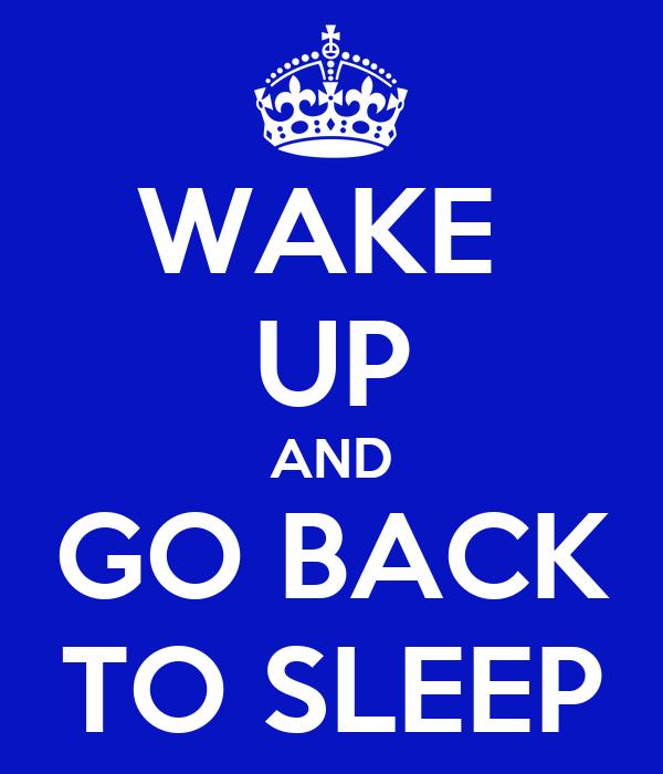 WAKE  UP AND GO BACK TO SLEEP