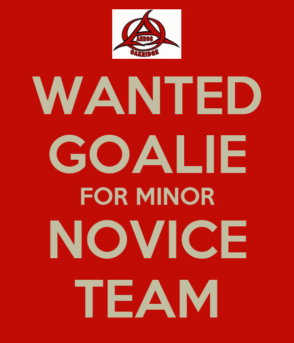 WANTED GOALIE FOR MINOR NOVICE TEAM