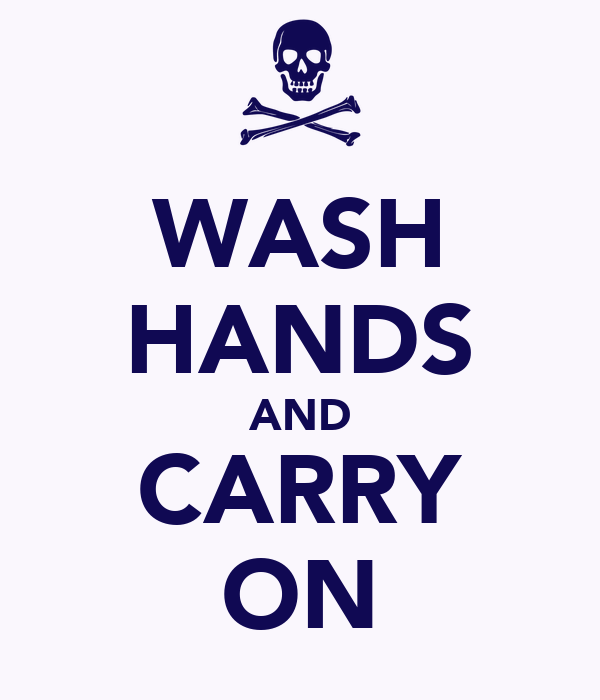 WASH HANDS AND CARRY ON