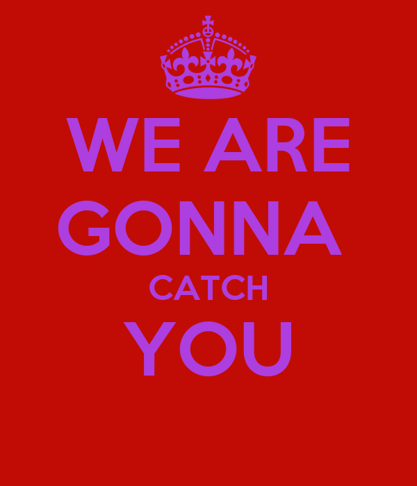WE ARE GONNA  CATCH YOU