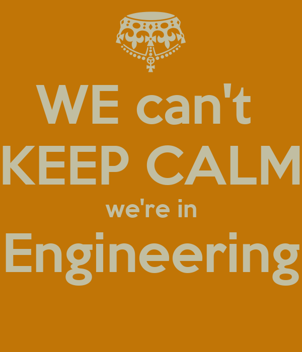 WE can't  KEEP CALM we're in Engineering