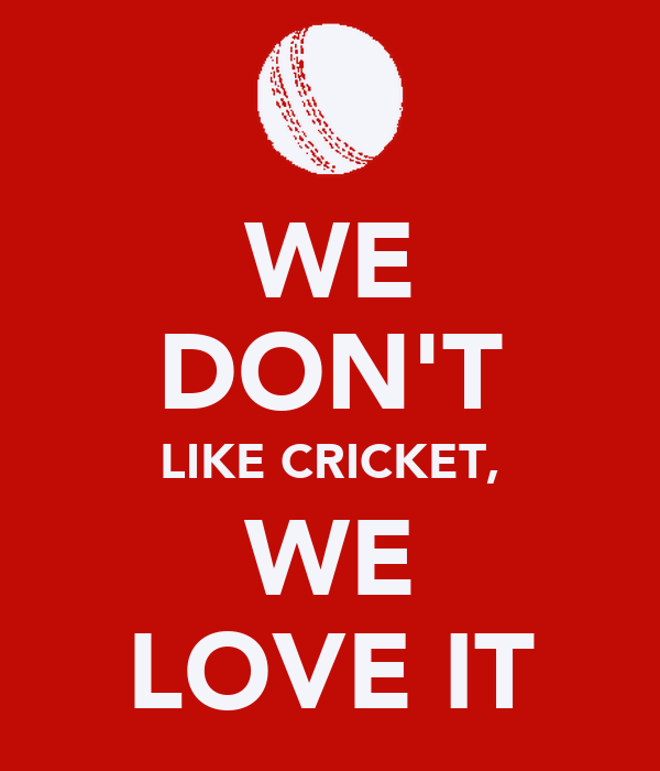 WE DON'T LIKE CRICKET, WE LOVE IT