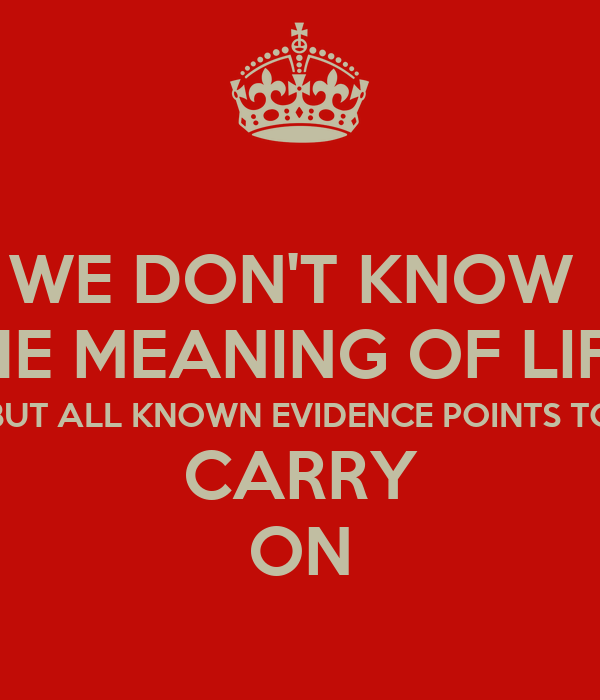 WE DON'T KNOW  THE MEANING OF LIFE  BUT ALL KNOWN EVIDENCE POINTS TO CARRY ON