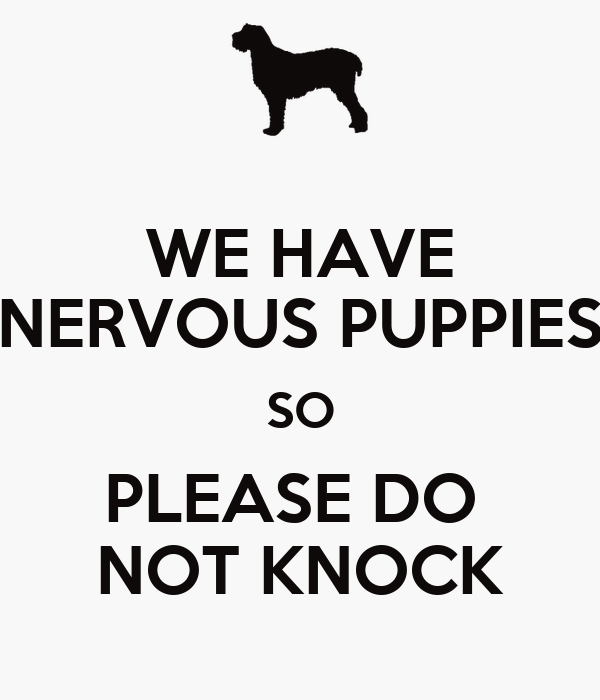 WE HAVE NERVOUS PUPPIES SO PLEASE DO  NOT KNOCK