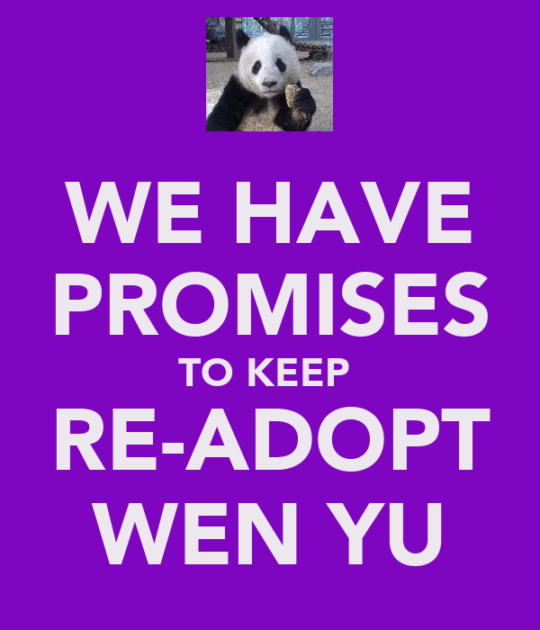 WE HAVE PROMISES TO KEEP  RE-ADOPT WEN YU