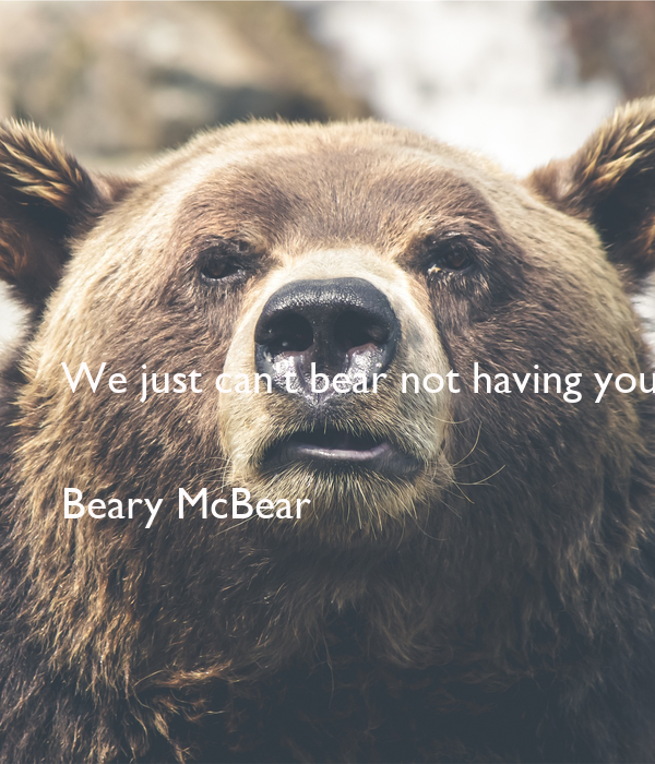 We just can't bear not having you on our street appeal team this year.   Beary McBear