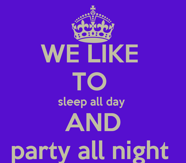 WE LIKE  TO  sleep all day   AND  party all night