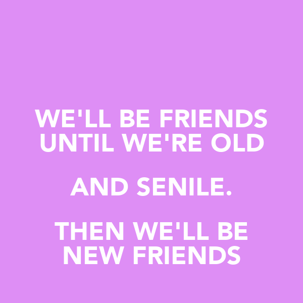 WE'LL BE FRIENDS UNTIL WE'RE OLD AND SENILE. THEN WE'LL BE NEW FRIENDS