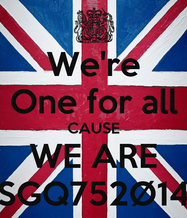 We're One for all CAUSE WE ARE SGQ752Ø14