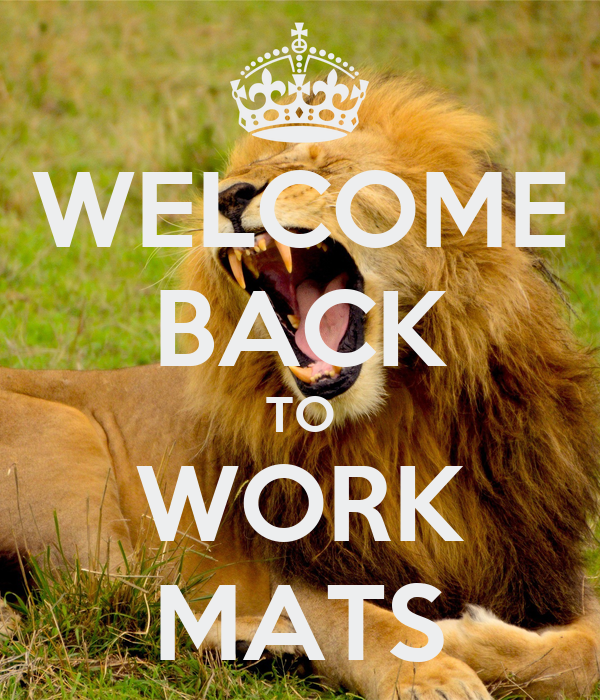 WELCOME BACK TO WORK MATS