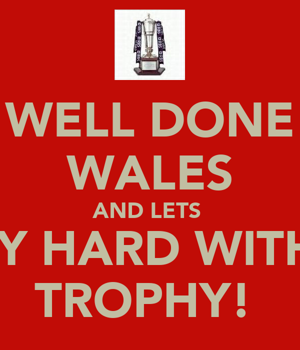 WELL DONE WALES AND LETS  PARTY HARD WITH THE TROPHY!