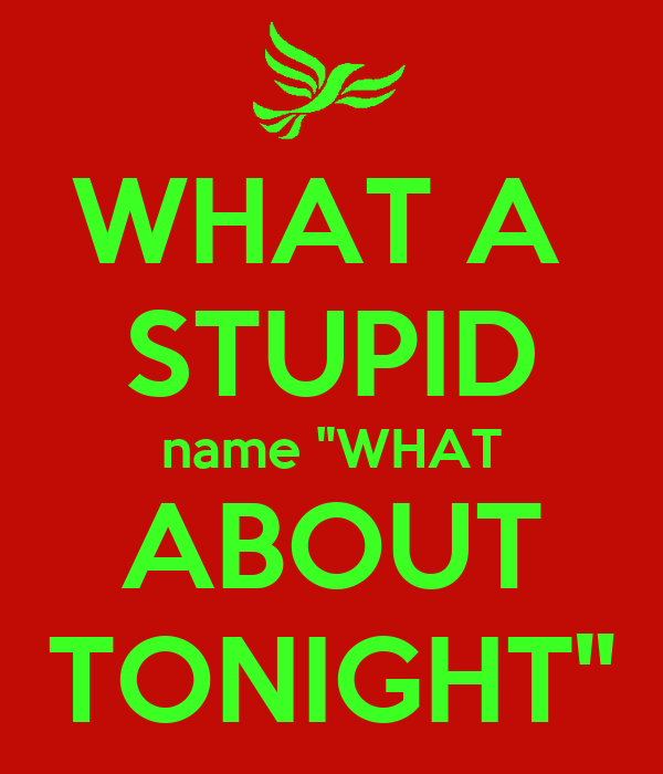"WHAT A  STUPID name ""WHAT ABOUT TONIGHT"""