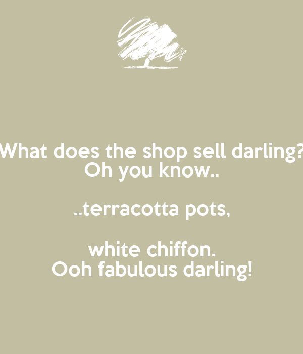 What does the shop sell darling? Oh you know.. ..terracotta pots, white chiffon. Ooh fabulous darling!