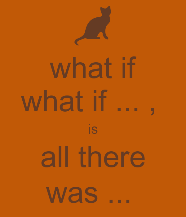 what if what if ... ,  is all there was ...