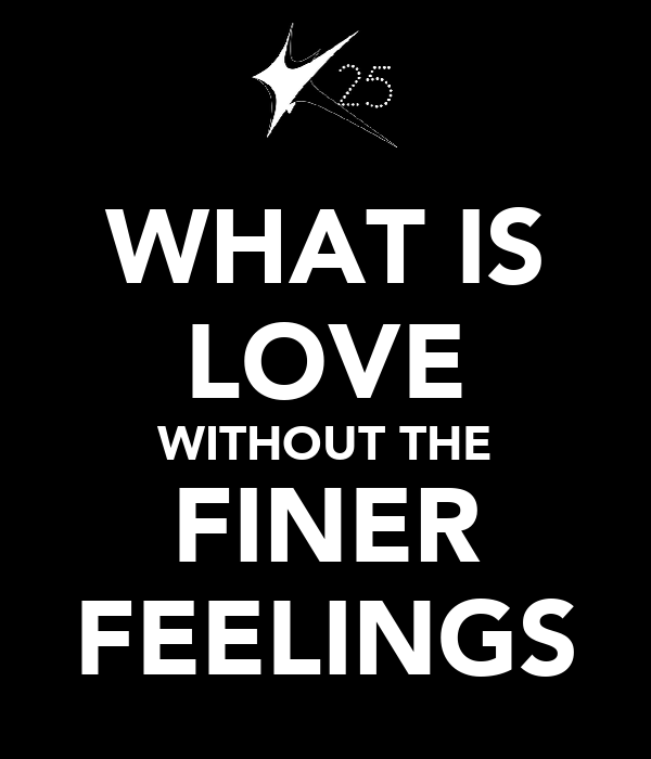 WHAT IS LOVE WITHOUT THE FINER FEELINGS