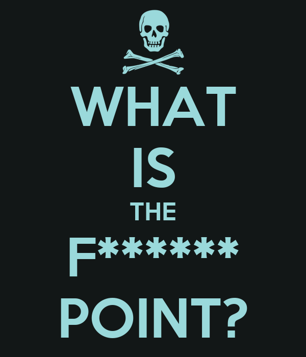 WHAT IS THE F****** POINT?