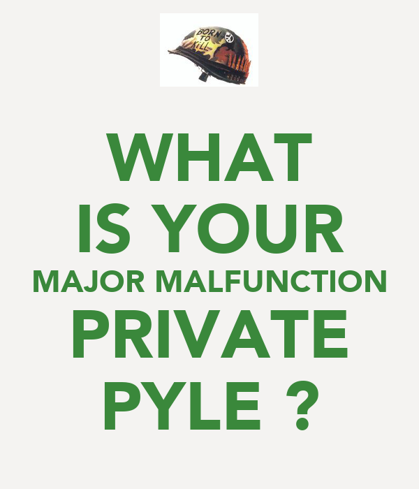 WHAT IS YOUR MAJOR MALFUNCTION PRIVATE PYLE ?