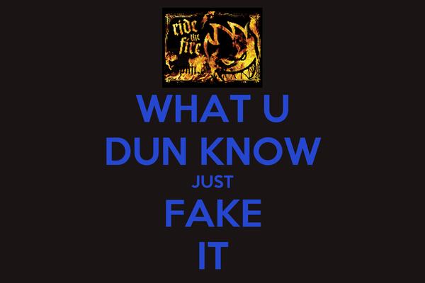 WHAT U DUN KNOW JUST FAKE IT