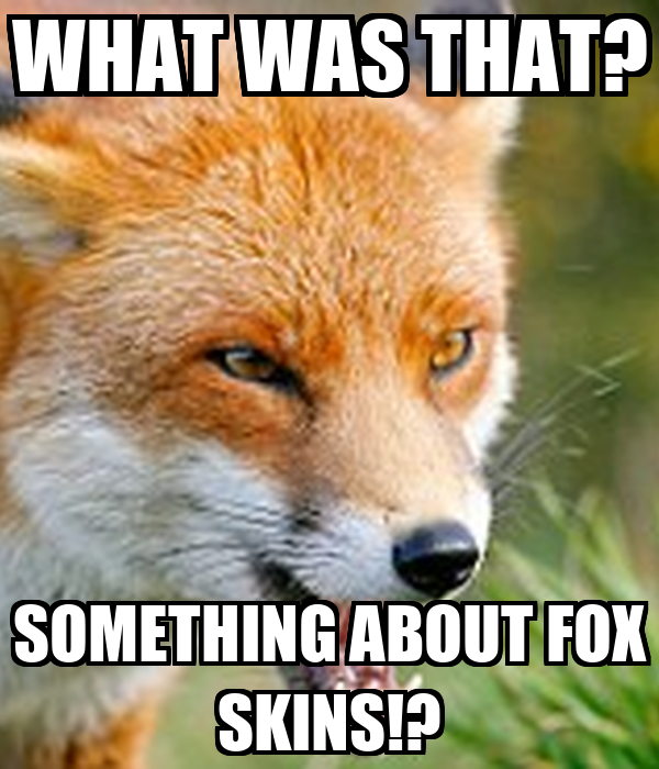 WHAT WAS THAT? SOMETHING ABOUT FOX SKINS!?