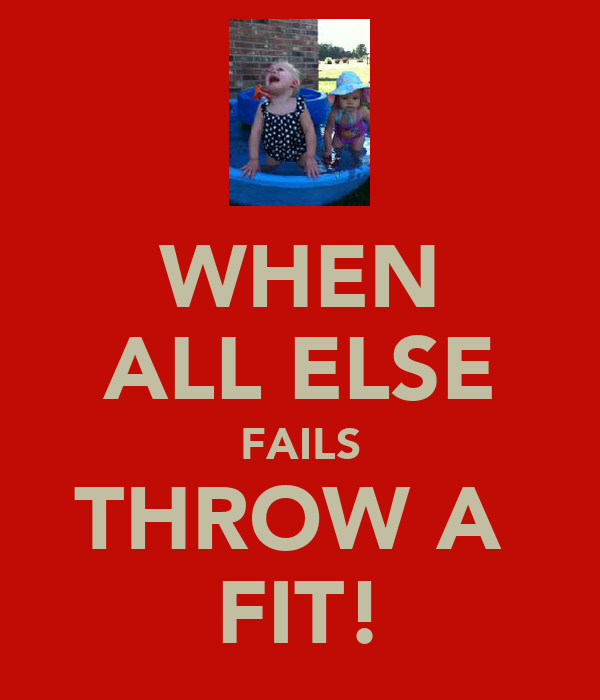 WHEN ALL ELSE FAILS THROW A  FIT!
