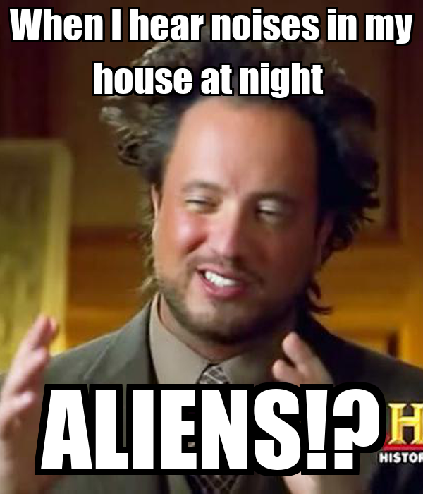 When I hear noises in my house at night  ALIENS!?