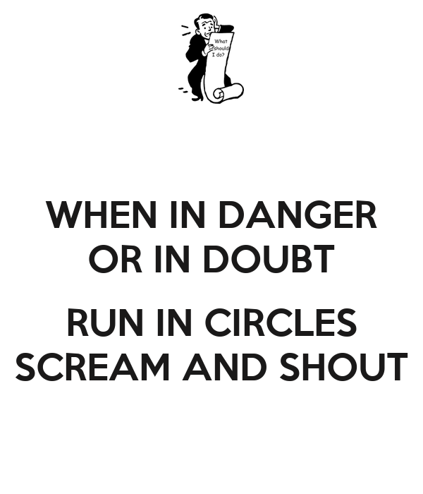 WHEN IN DANGER OR IN DOUBT  RUN IN CIRCLES SCREAM AND SHOUT