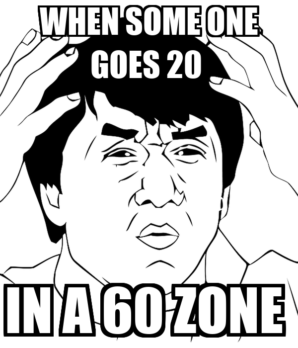 WHEN SOME ONE GOES 20  IN A 60 ZONE