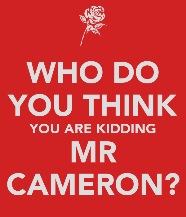 WHO DO YOU THINK YOU ARE KIDDING MR CAMERON?