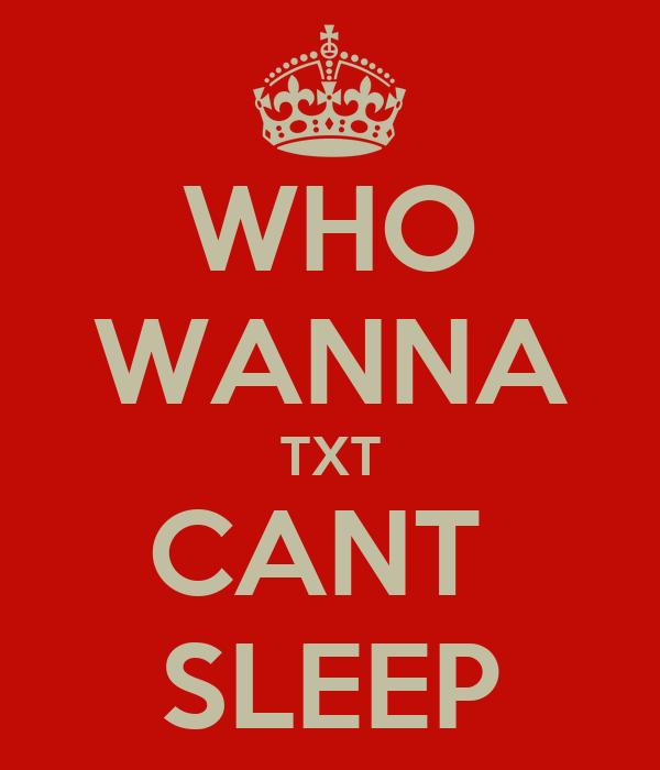 WHO WANNA TXT CANT  SLEEP
