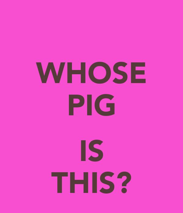 WHOSE PIG  IS THIS?