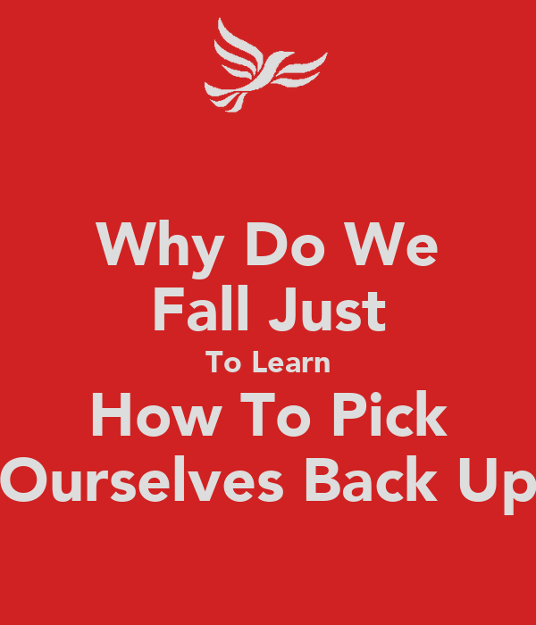Why Do We Fall Just To Learn How To Pick Ourselves Back Up