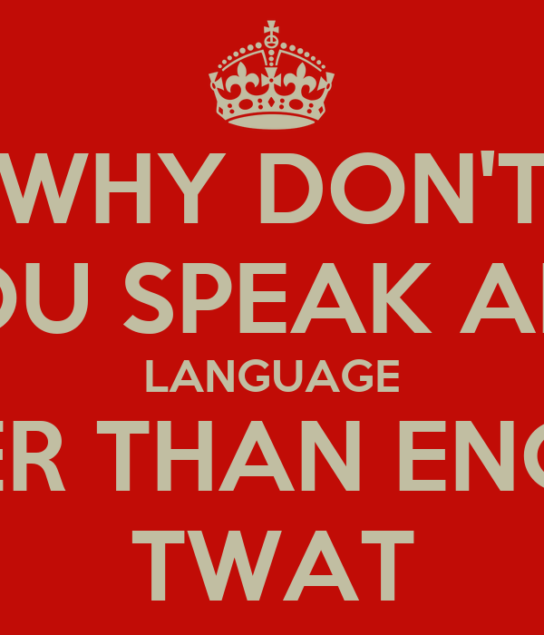 WHY DON'T YOU SPEAK ANY LANGUAGE OTHER THAN ENGLISH TWAT