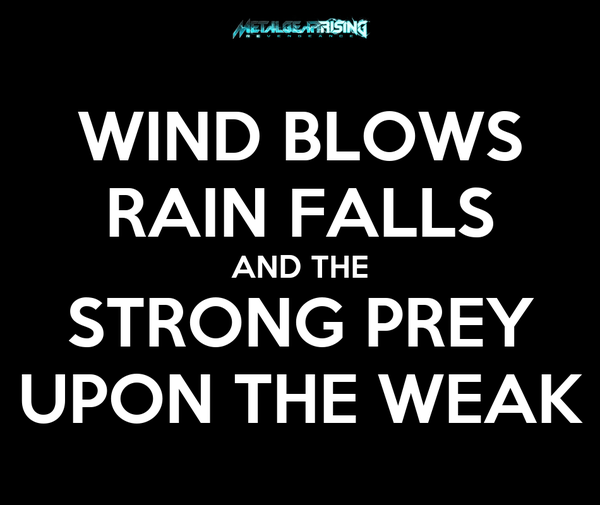 WIND BLOWS RAIN FALLS AND THE STRONG PREY UPON THE WEAK