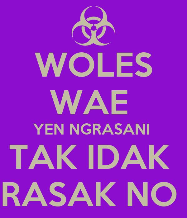 WOLES WAE  YEN NGRASANI  TAK IDAK  RASAK NO