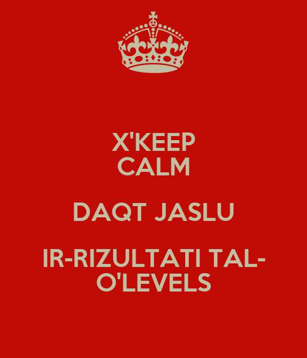 X'KEEP CALM DAQT JASLU IR-RIZULTATI TAL- O'LEVELS