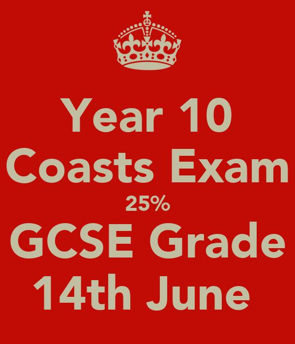 Year 10 Coasts Exam 25% GCSE Grade 14th June