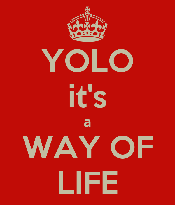 YOLO it's a WAY OF LIFE