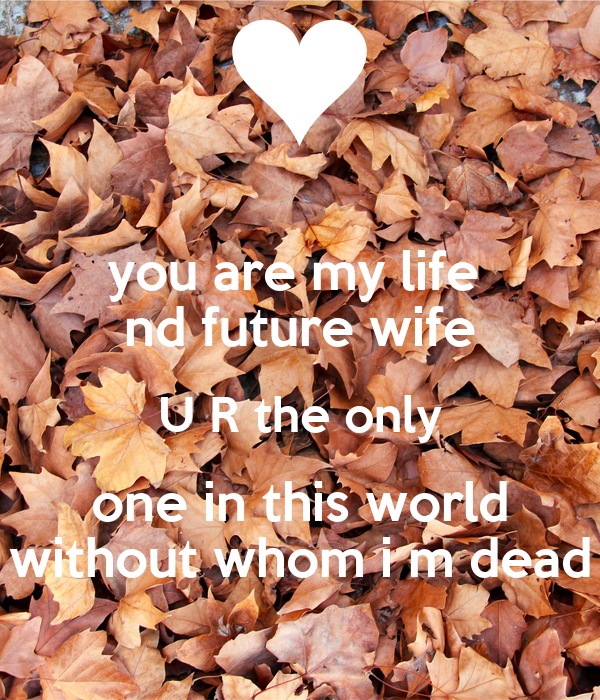 you are my life  nd future wife U R the only one in this world without whom i m dead