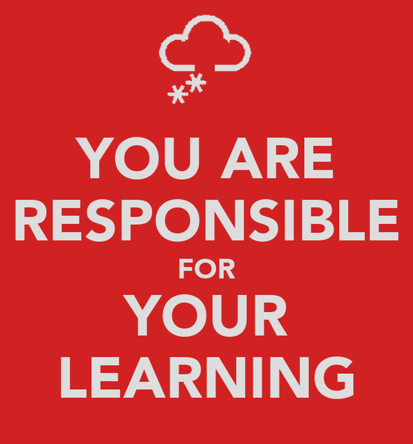 YOU ARE RESPONSIBLE FOR YOUR LEARNING