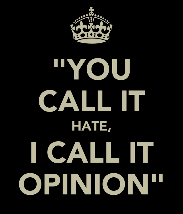 """YOU CALL IT HATE, I CALL IT OPINION"""
