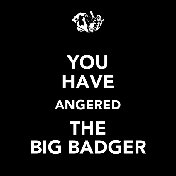 YOU HAVE ANGERED THE BIG BADGER