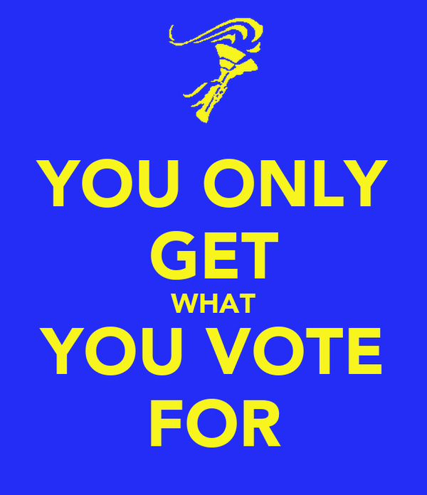 YOU ONLY GET WHAT YOU VOTE FOR