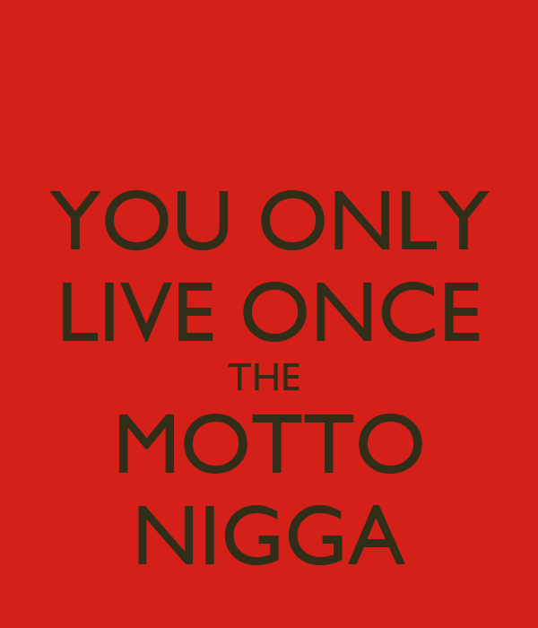 YOU ONLY LIVE ONCE THE  MOTTO NIGGA
