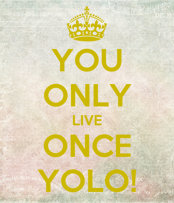 YOU ONLY LIVE ONCE YOLO!