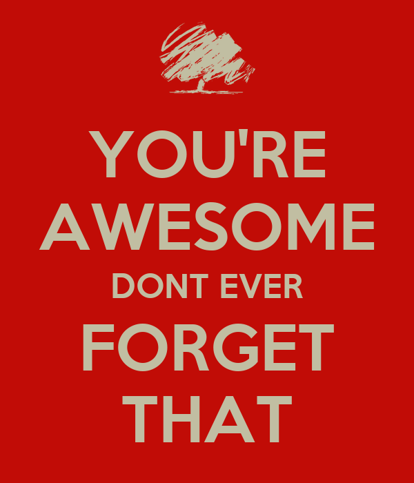 YOU'RE AWESOME DONT EVER FORGET THAT