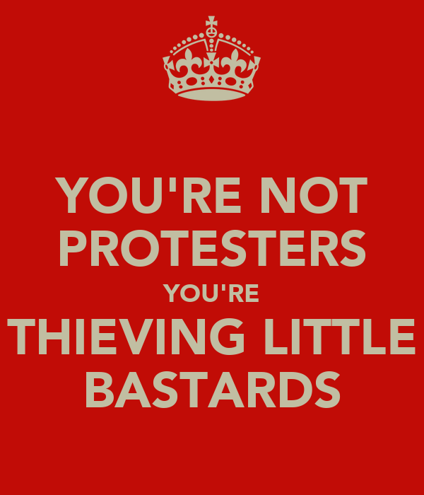 YOU'RE NOT PROTESTERS YOU'RE THIEVING LITTLE BASTARDS