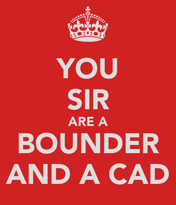 YOU SIR ARE A BOUNDER AND A CAD
