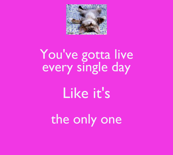 You've gotta live every single day Like it's the only one